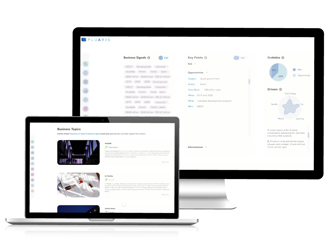 screenshots of nlp engine data intelligence solution