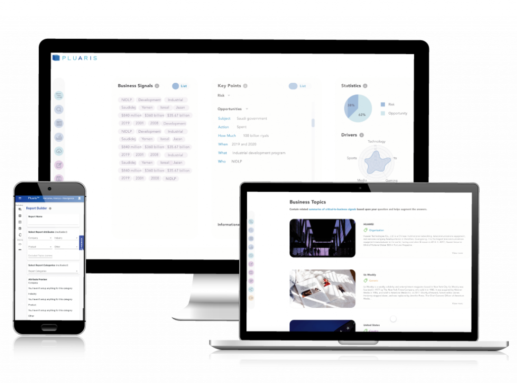 mobile versions of pluaris AI powered nlp insight engine