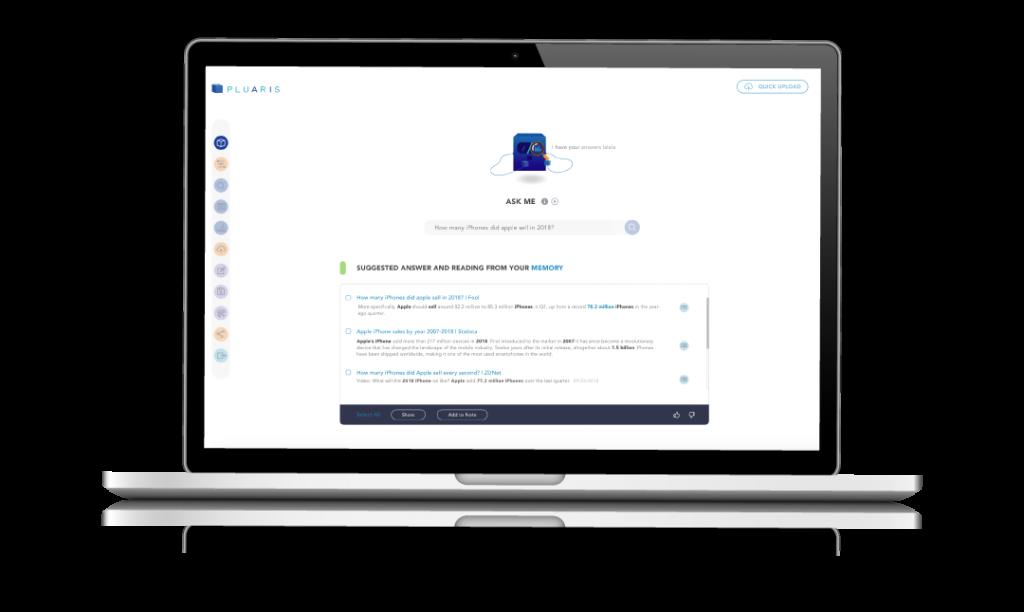Pluaris Enterprise Ask Me functionality within Pluaris